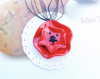 My pretty poppy floral necklace double red and black polymer clay