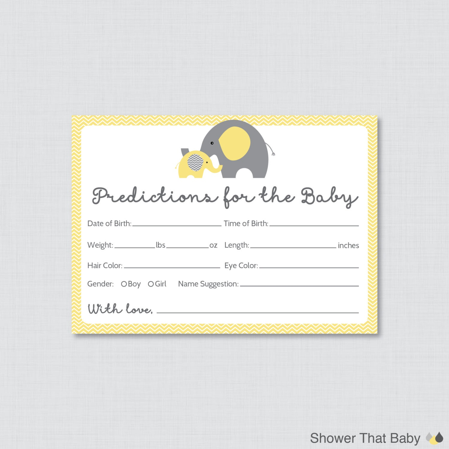 elephant baby shower prediction cards instant