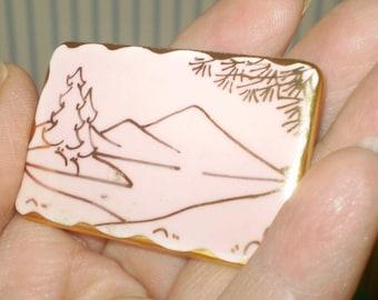 SALE: Vintage Japanese tile pin brooch- pink enamel tile pin- made in Japan pin- mountains, trees landscape tile