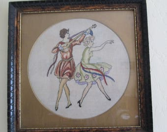 Vintage Petit Point 1920's Flappers  in Frame from Hungary