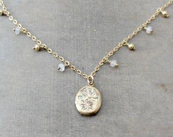 October Birthstone Locket, Gold Dangle Choker, Gold Opal Locket, Gold Photo Locket, Dangle Choker, Push Present for Her Gold Fringe Necklace