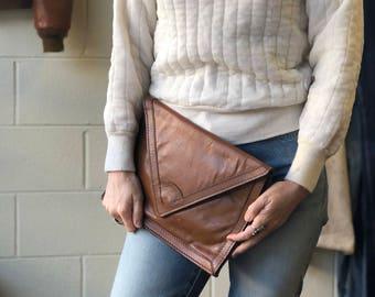 Vintage Brown Leather Oversized Envelope Clutch