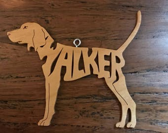 Walker Coon Hound Hunting  Dog Wooden Christmas Ornament Decoration Hand Cut