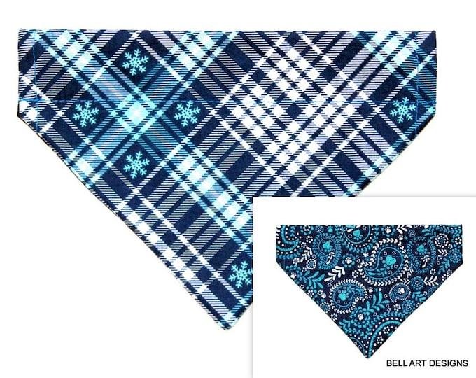 DOG BANDANA ~ Over the Collar ~ Reversible ~ Christmas Plaid and Paisley~ Bell Art Designs ~ Small DCS504