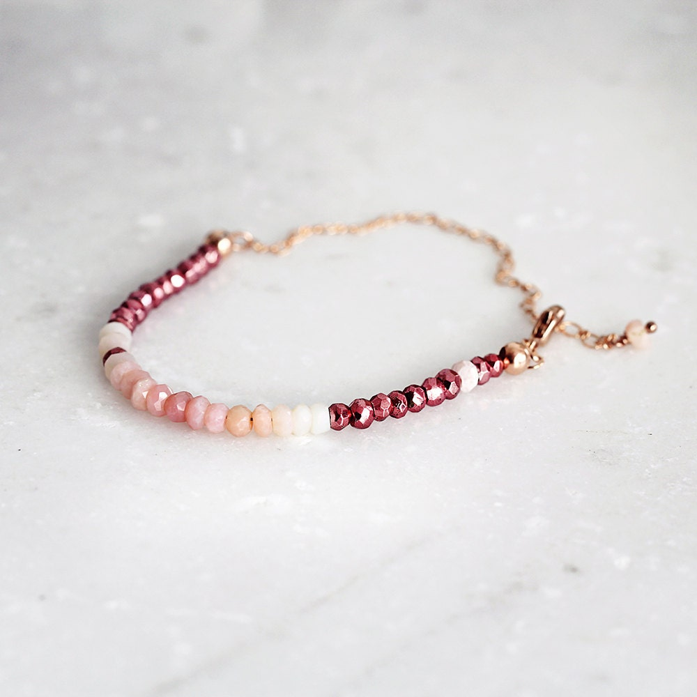 beaded sweet charm high quality stone bracelets opal pink from beads apple young for girl yoga cute bracelet girls natural product women