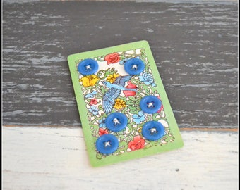 Steel Blue Plastic 4-Hole Sew Through Buttons - Six (6) Blue Buttons  (#112)