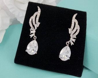 Lina - Cubic Zirconia Bridal Earrings