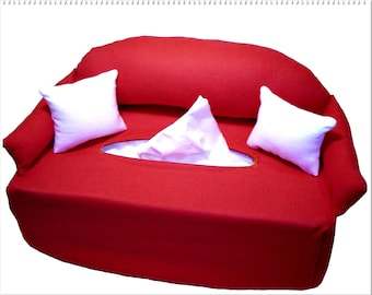 Red handkerchief sofa-couch tissue box cover