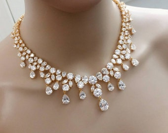 Gold Sparkling Bridal jewelry set, Wedding jewelry set, Mother of The Bride / Groom Necklace Set, Bridal CZ crystal necklace earrings, Gift