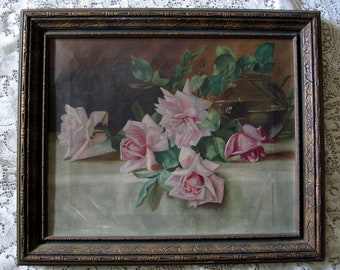 Antique, Pink, Roses, Oil on Canvas, Painting, Original Frame, Victorian, E105