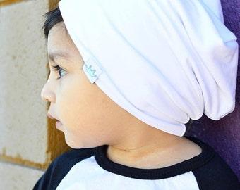 White slouchy baby beanie boy / White slouch beanie / Hipster Toddler beanie