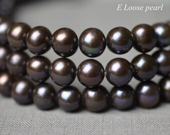 Round pearl Large hole pearl leather pearl Freshwater pearls Loose pearls Potato pearl necklace 8.5-9.5mm Brown black Full Strand PL2349