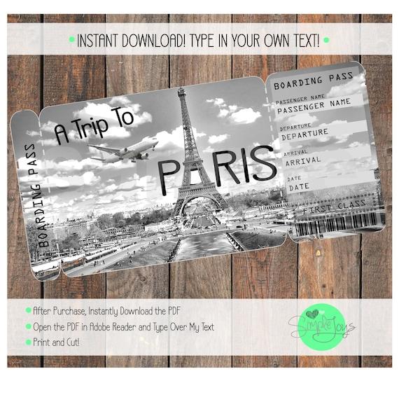 Printable Ticket to Paris Boarding Pass Customizable