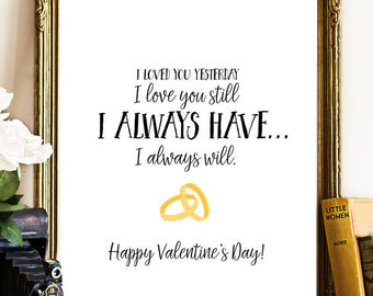 Happy Valentine's Day, I love you Printable Wall Art, Valentine's Day Decor, Valentine Print, Valentine Printable, Anniversary printable art