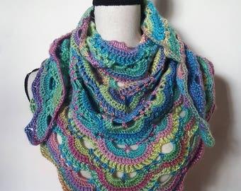 Crochet Shawl, Knit Shawl, Easter Shawl, Spring Shawl, Rainbow Shawl, Crochet Wrap, Knit Wrap, Triangle Shawl, Lacy Scarf, Handmade