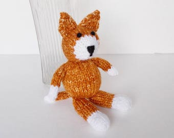 Hand Knit Cat Stuffed Animal, Little Orange Ginger Cat, Boy Girl Toddler Nursery Toy, Infant Shower Gift Plush Doll  Newborn Photo Prop