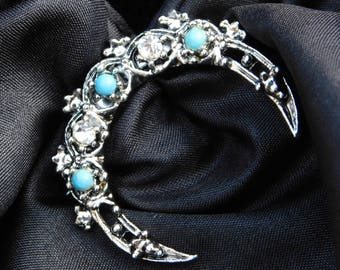 Vintage Gerry's Crescent Moon Brooch ∙ Silver Toned Metal with Rhinestone and Faux Turquoise ∙ Vintage Moon Pin ∙ Moon Jewelry