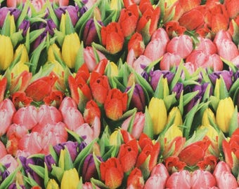 Solid cotton fabric tulips flower meadow - 100% pure cotton