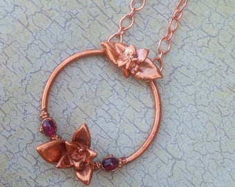 Succulent and Rhodolite Copper Healing Necklace. Electroformed pendant. Unique Crystal Amulet.