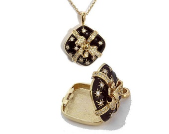 18kt gold and diamond gift box with bow locket pendant