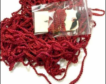 "LADY DOT CREATES ""Sizzle"" • Hand Dyed Mini Pom Poms • 100% Polyester Mini Ball Trim • 2 Continuous Yards • Red Pom Pom"