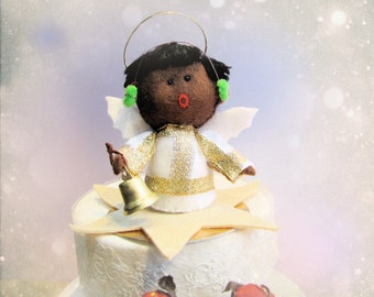 Christmas Caroling Signing Angel Ornament Felt Sculpture - handmade felt doll for Xmas Cake topper keepsake softie - Hand Made in France