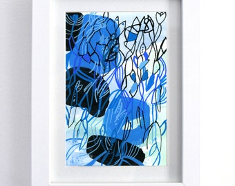 Blue Hair - blue painting blue watercolor framed painting framed watercolor abstract painting design modern unique art small art