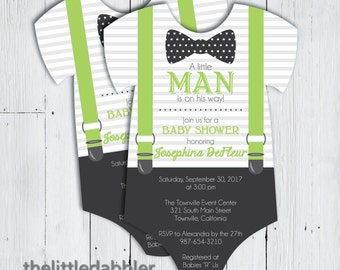 Printable Little Man Baby Shower Invitation -- Green Charcoal Bowtie Suspenders Baby Onesie, Little Man is On His Way -- PNG & JPG
