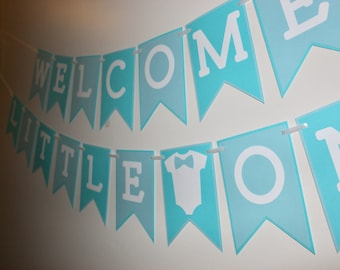 Welcome Little One Banner, Welcome Baby Banner, Baby Shower Decor, Its a Boy