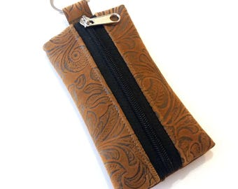 Brown  Tiny pouch, key ring coin pouch, key ring zippered pouch gift,  earbud holder,  keychain pouch, lip balm holder