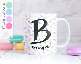 Rainbow Sprinkles Mug - Personalised Gift for Bakers - Monogram Initial Alphabet Cup