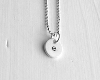 Initial Necklace, Letter e Pendant, Personalized Necklace, HandStamped Initial Pendant, Sterling Silver Jewelry, All Letters, Charm Necklace