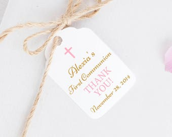First communion tags (30) - Baptism gift tags - Holy Communion favor tags - Christening favor tags