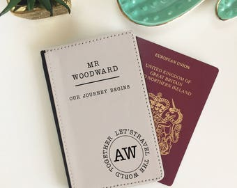 Personalised Pair of Couples Our Journey Begins Passport Cover Wallet Wedding Honeymoon Gift