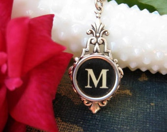Typewriter Key Jewelry - Typewriter Key Initial Necklace Letter M