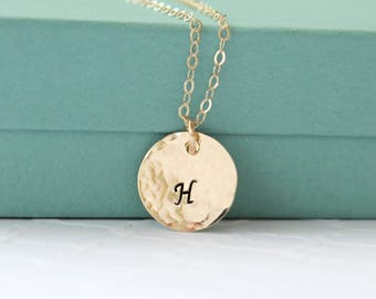 Customizable Gold Initial Necklace - Personalized Initial Letter Necklace - Hand Stamped Necklace - Monogram Necklace - Initial Jewelry -