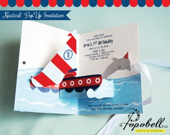 Nautical Invitation. DIY Pop Up Invitation for Nautical birthday party. Personalize 3D Invitation printable with sailboat & dolphin. Digital