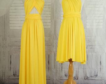 Yellow Bridesmaid infinity Dress Wrap dress Convertible Infinity Dress Evening Dresses -B14#C14#