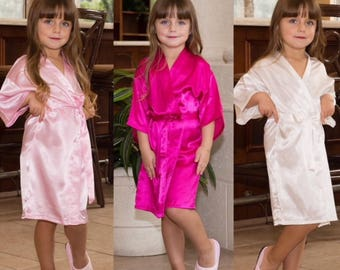 Flower Girl Robe, Flower Girls Gift, Bridal Robe, Bride Robe, Bridal Party Robes,  Bridesmaid Gift, Silky Robe, Satin Robe,  Floral Robes