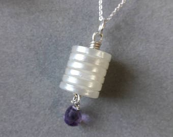 Sterling Silver Wire Wrapped Mother of Pearl Button & Amethyst Pendant, February Birthstone