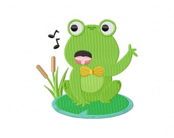 Singing frog pond music machine embroidery design