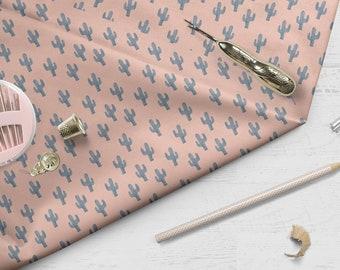 "Cacti Fabric, ""Cacti"" design, 100% cotton, tropical, cactus, pink and grey"