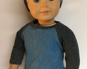 Heather blue and charcoal gray baseball style shirt raglan sleeve tee 18 inch boy doll clothes 18 inch doll clothes