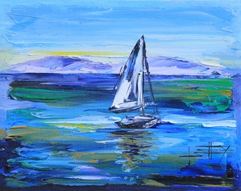 Sailboat Painting, Boat Art, Sailboats, Boats, En Plein Air, Plein Air, Abstract, Modern, Textured Art, Original Painting, 8x10 Painting