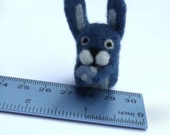 Miniature Blue Needle Felted Rabbit With Egg - Felt Animal - Easter Bunny