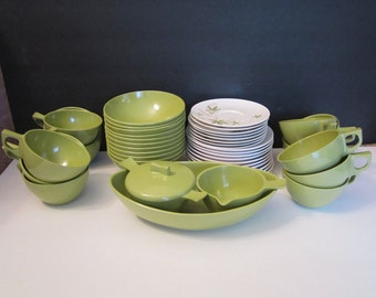 Vintage Sun Valley Melmac Dishes Cups Saucers Serving Bowl Sugar Bowl and Creamer 45 Pieces Olive Green