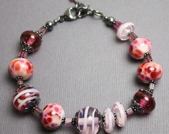 Pink Lampwork Bead Bracelet, Pink Bracelet, Lampwork Bracelet, Pink Glass Bracelet, Pink Beaded Bracelet, Artisan Jewelry, Kathy Bankston