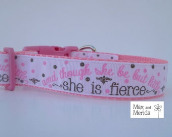 Dog Collar Pink and Brown,  adjustable dog collar, pet gift, pet accessory, She is Fierce
