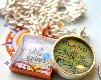 Custom Map Pendant, Round Map Charm, Mini:  You Name Your City or Hometown, In Silver Pewter, Gold or Copper