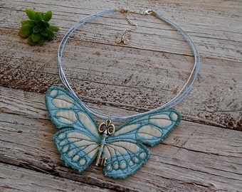 Blue butterfly necklace, fabric necklace